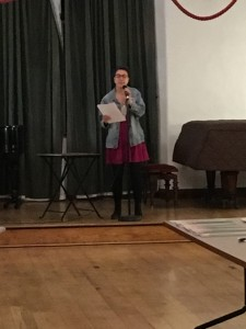 Maggie reading one of their poems